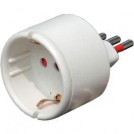 Adapter schuko socket / plug 2p + t 16 to