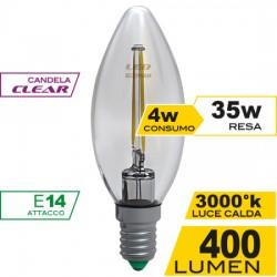 Lampadina a Led Filamento Clear 4W E 14 Luce Calda 3000 K